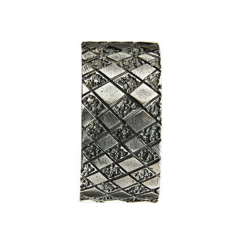 Chequered Silver Square Ring