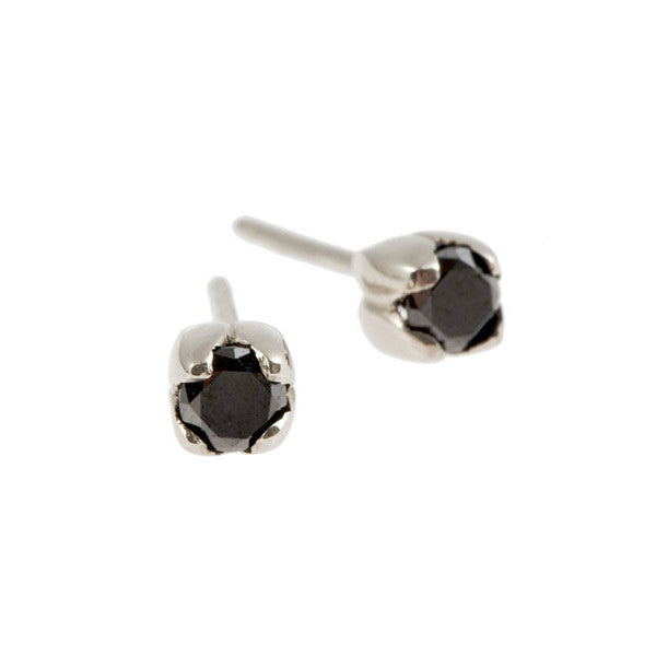 Tulip 18ct White Gold 50pt Black Diamond Ear Studs