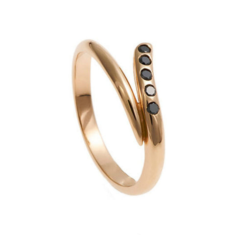Tulip 18ct Rose Gold Wedding Ring with Black Diamonds