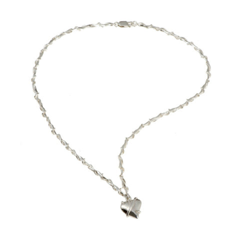 Entwine Silver Link Necklace with Heart Charm