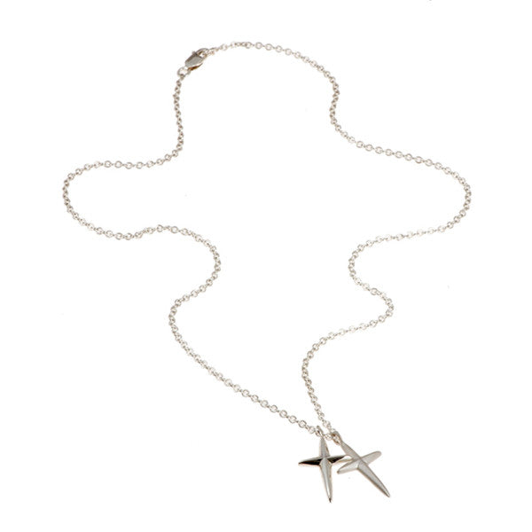 Trinity Silver Two Crosses Necklace