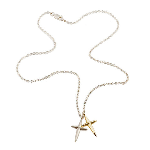 Trinity Silver Double Cross Necklace with Gold