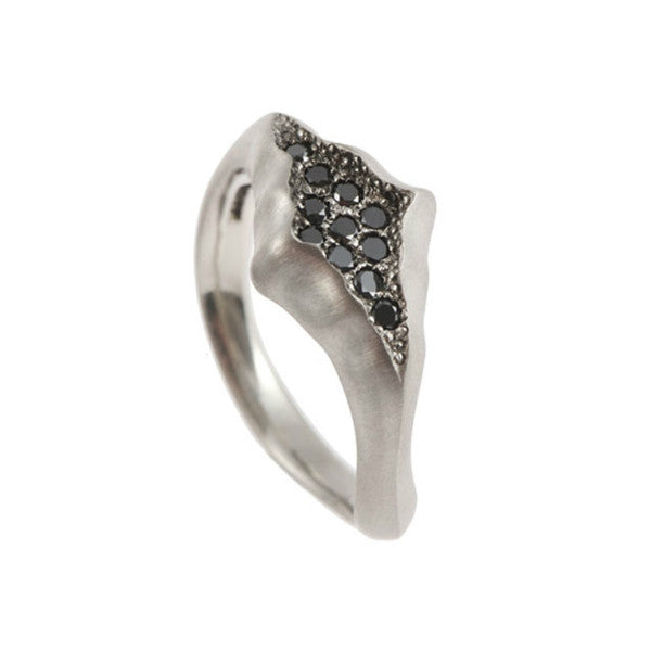 Triffid 18ct White Gold VR4 Marquise Ring with Black Diamonds