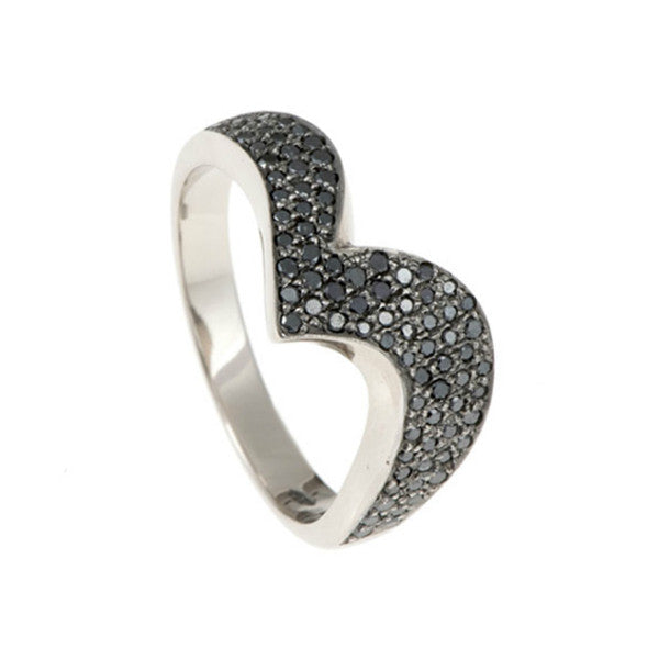 Tulip 18ct White Gold Pavé Black Diamond Wedding Ring