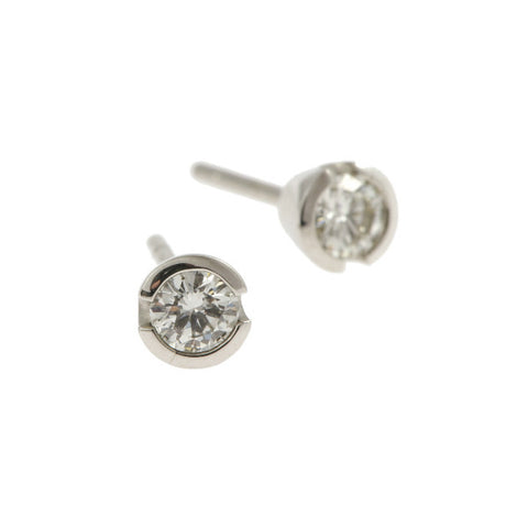 Blue 18ct White Gold .40pt Diamond Ear Studs