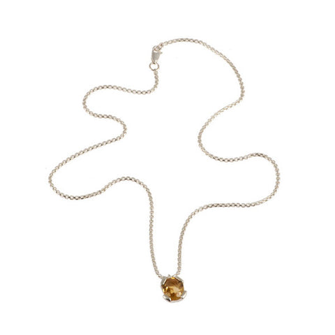 Kaleidoscope Silver Oval Citrine Necklace