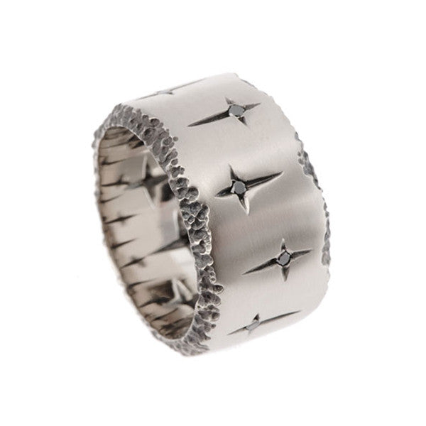 Trinity 18ct White Gold 13mm Ring with Black Diamonds
