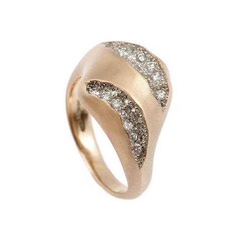 Triffid 18ct Rose Gold VR2 Heavy Two Section Diamond Ring
