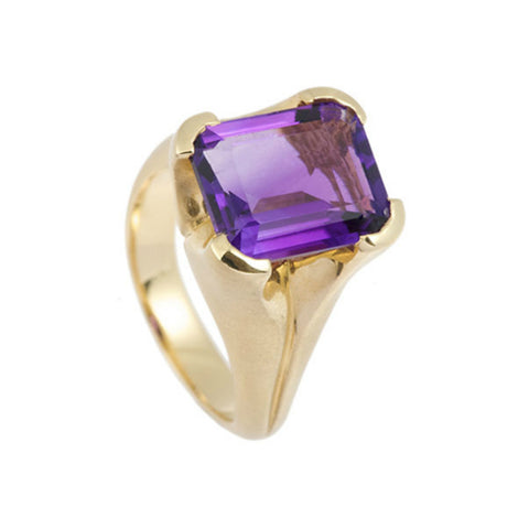 Kaleidoscope 9ct Gold Ring With Emerald Cut Amethyst