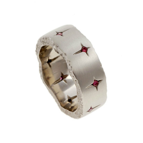 Trinity 18ct White Gold 7.5mm Ring with Pink Diamonds