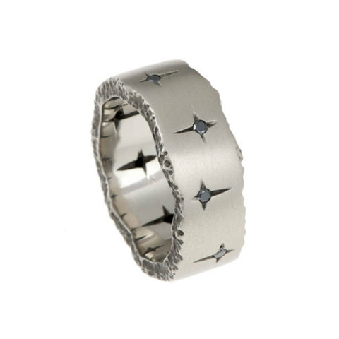 Trinity 18ct White Gold 7.5mm Ring with Black Diamonds