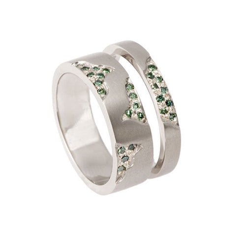 Narrow Blitz 18ct White Gold Green Diamond Wedding Engagement Ring