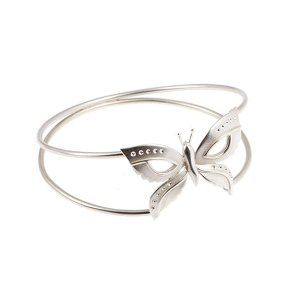 Naturist Silver Butterfly Bangle