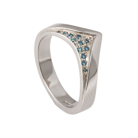 Wishbone Blitz 18ct White Gold Wedding, Engagement Ring With Blue Diamonds