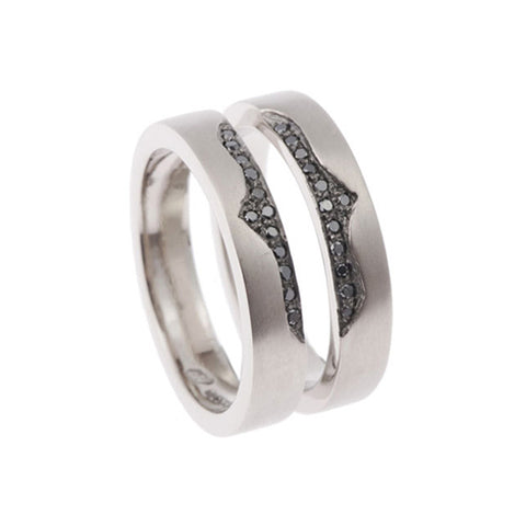 Blitz 18ct White Gold Twin Ring with Black Diamonds