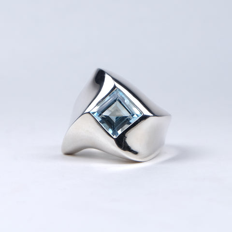 Abstract Silver Square Ring with Sky Blue Topaz