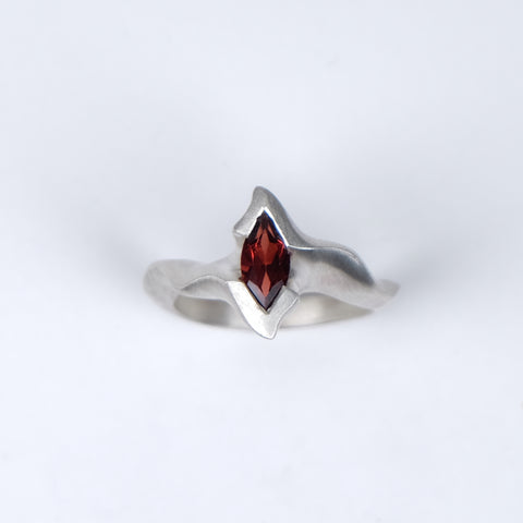 Electra Silver Ring with Marquise Garnet