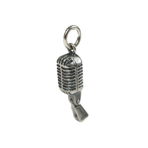 Silver Microphone Charm