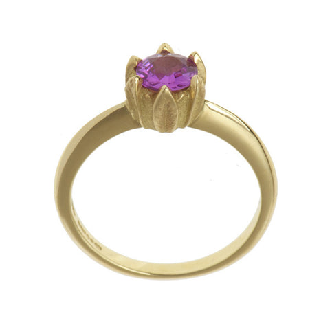 Collette 18ct Yellow Gold 0.70pt Pink Sapphire Ring