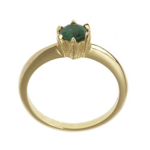 Collette 18ct Yellow Gold 0.50pt Emerald Ring