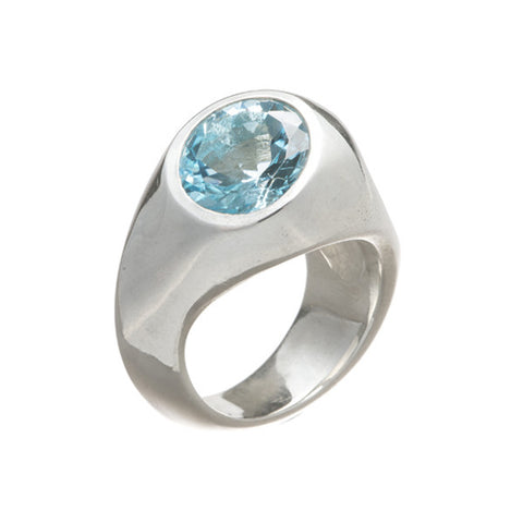 Abstract Heavy Silver Ring with Round Sky Blue Topaz