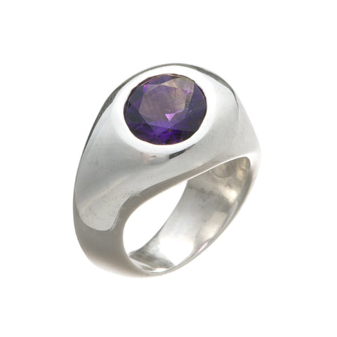 Abstract Heavy Silver Ring with Round Stone