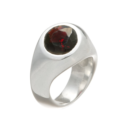 Abstract Silver Ring with Round Topaz, Amethyst, or Garnet