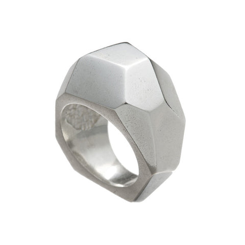 Cubism Silver Tapered Ring
