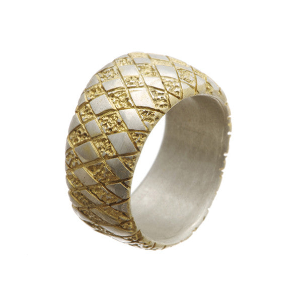 Chequered Silver Curved Ring with Gold Plate