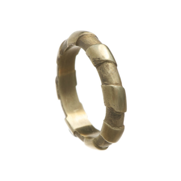 Striped 9ct Yellow Gold 5mm 'D' Band