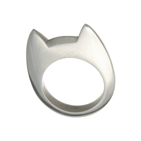 Flat Top Silver Cat Ring
