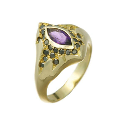 Morocco 9ct Gold Ring with Amethyst and Black Diamonds