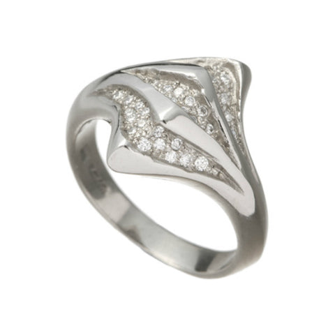 Morocco 18ct White Gold Diamond Slashed Ring