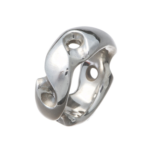 Abstract Wide Heavy Silver Ring