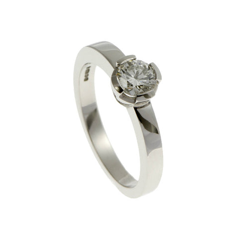 Castle Platinum Solitaire With .35pt Brilliant Cut Diamond