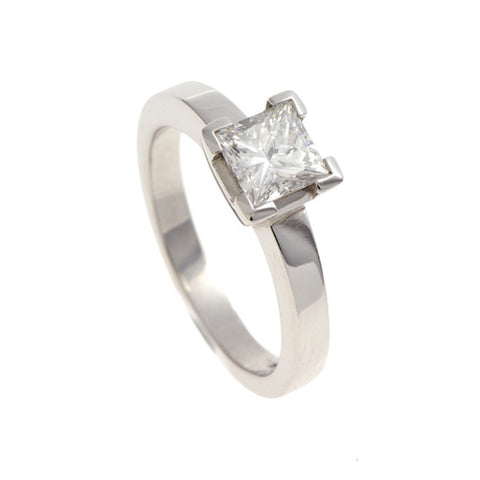 Castle Platinum Solitaire with 1 Carat Princess Cut Diamond