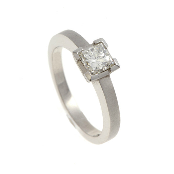 Castle 18ct White Gold Solitaire with .50pt Princess Cut Diamond