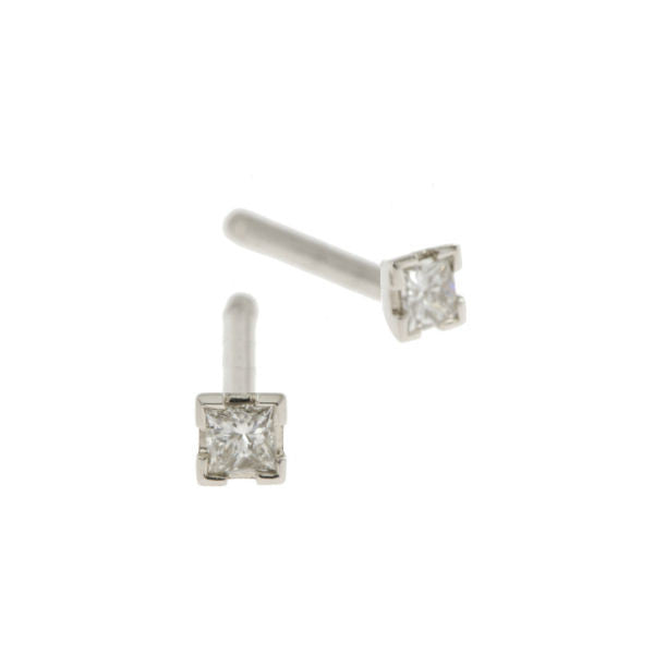 Castle 18ct White Gold .16pt Diamond Studs