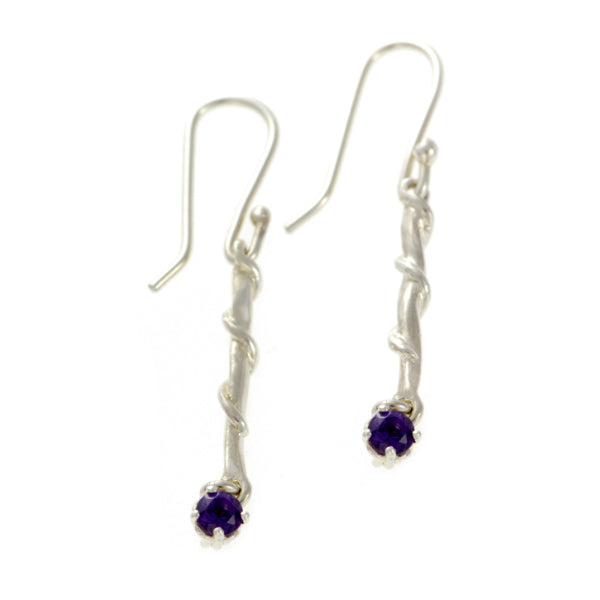Entwine Silver Drops with Amethyst