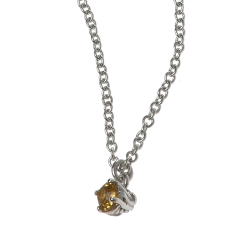 Entwine Silver Necklace With Citrine