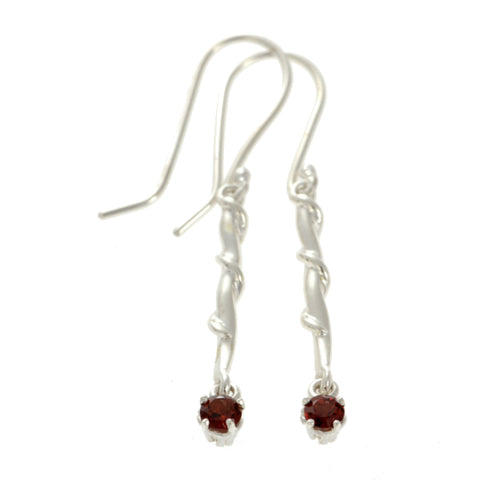 Entwine Silver Drops with Garnet