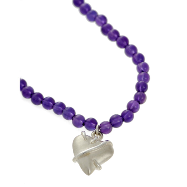 Entwine Silver Heart on Amethyst Bead Necklace