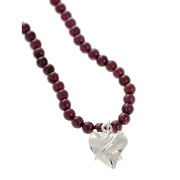 Entwine Silver Heart on Garnet Bead Necklace