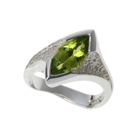 Libertine Silver Ring with Marquise Peridot