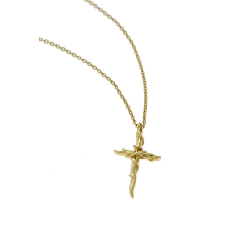 Entwine 18ct Yellow Gold Cross Necklace