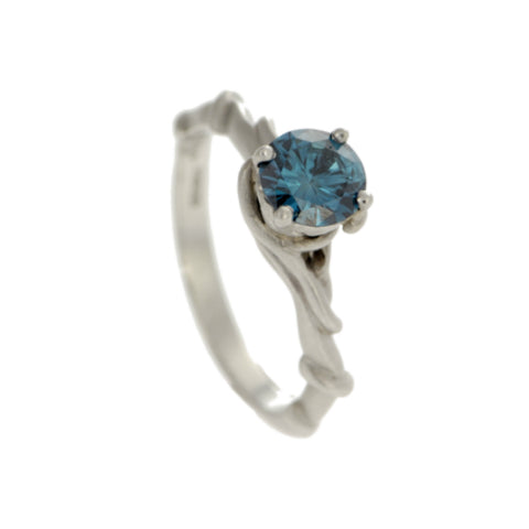 Entwine Platinum Ring with .50pt Blue Diamond