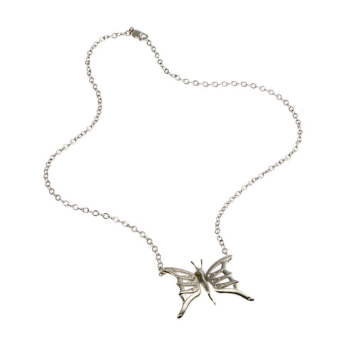 Naturist Original Silver Butterfly Necklace