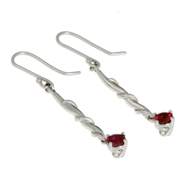 Entwine Silver Drops with Synthetic Ruby