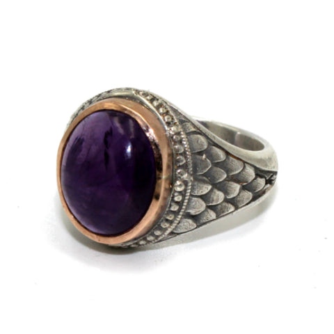 Hoye Division College Style Ring with Amethyst