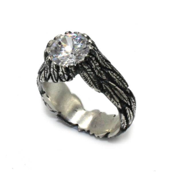 Feathers Silver Ring with White Cubic Zirconia